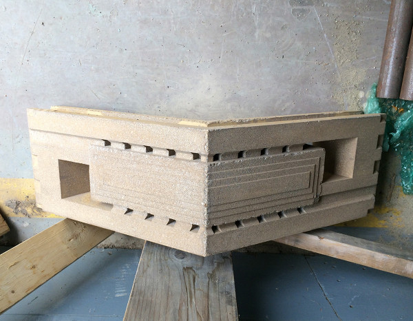 Outside corner perforation block made for the west wall of the AP Chapel.