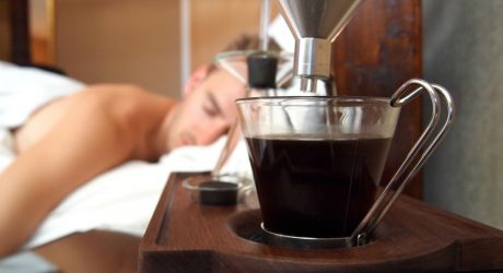 An Alarm Clock That Wakes You Up With a Cup of Coffee