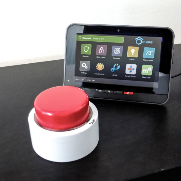 """Connected with home automation and security systems, the bttn can turn into an easy to access """"on"""" switch which doesn't require swiping or turning on any device to work, helpful in emergencies."""