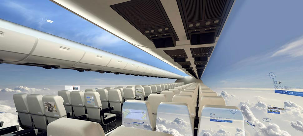 Future Airline Interior Cabins Might Become a 180 OLED Display
