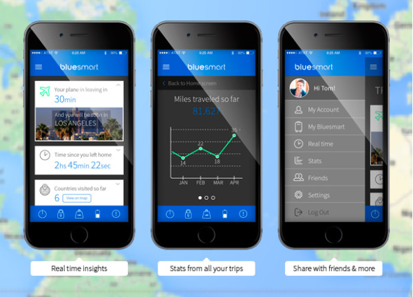 Bluesmart's developers plan to integrate social and data tracking features summarizing travel patterns.