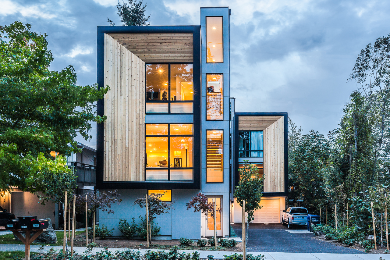 Modern prefab townhomes in west seattle