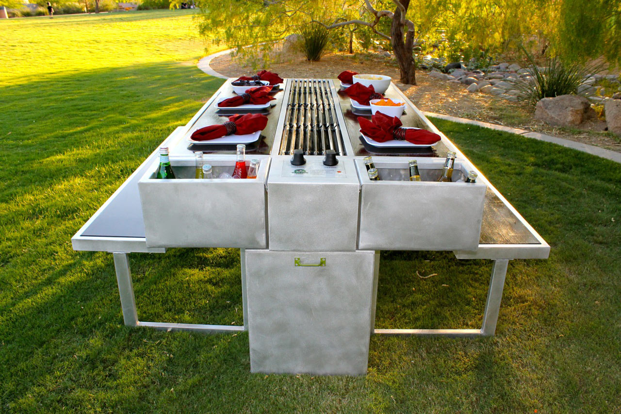 An outdoor grill you can cook and eat at design milk