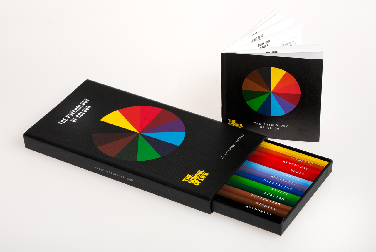 The School of Life has launched a unique set of 12 colored pencils that aim to help reveal your inner qualities with explanations of their meanings.
