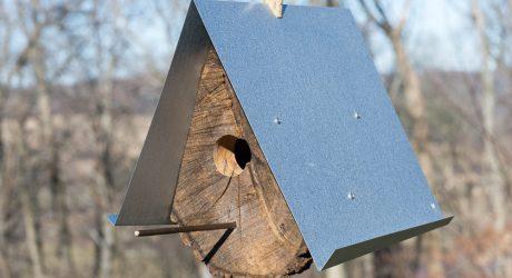 Log Quartered Birdhouses by Moger Mehrhof Architects