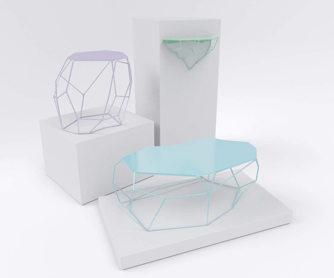 A Set of Tables Inspired by Rock Formations