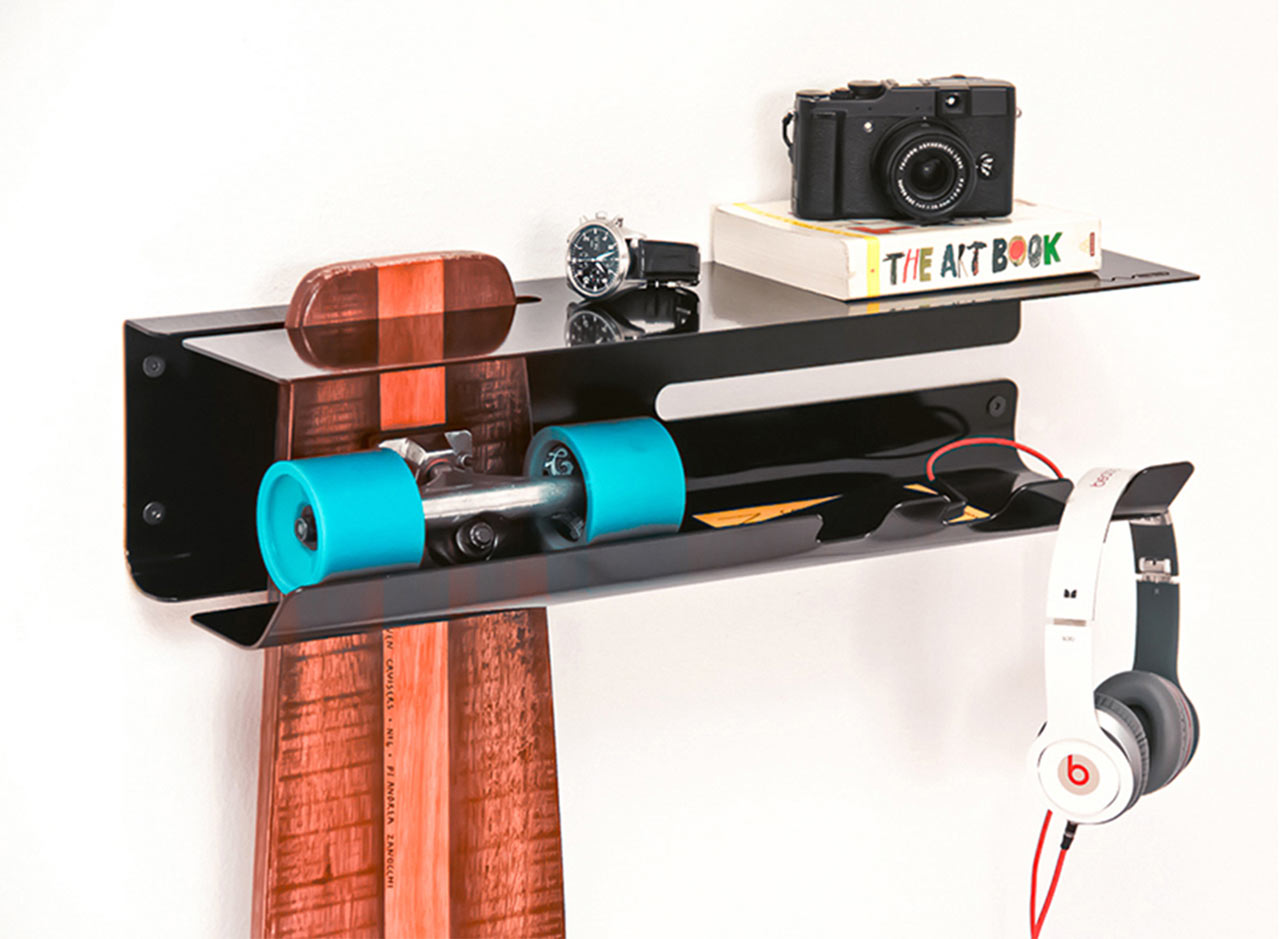 A Wall-Mounted Rack to Proudly Display Your Skateboard