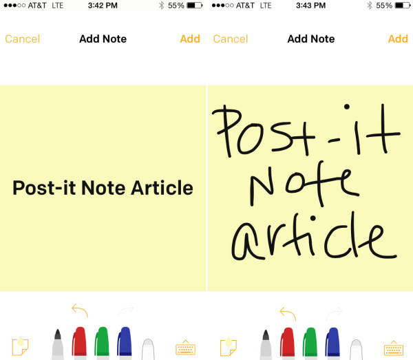 Create a digital Post-it Note with the phone's keyboard or draw it with your finger.