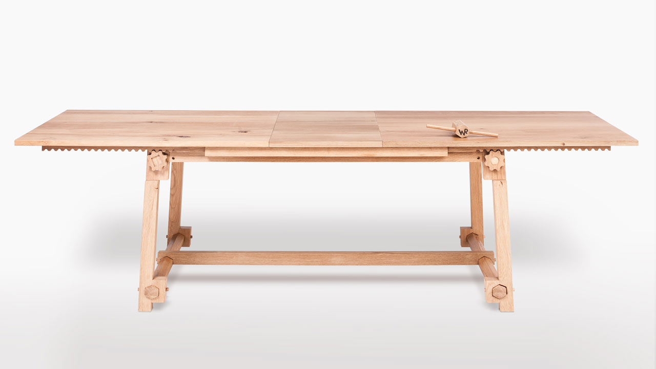 a modern table with wooden gears  design milk - a modern table with wooden gears