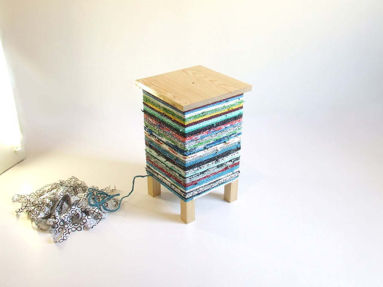 Table Covered with Crocheted Plastic Bags