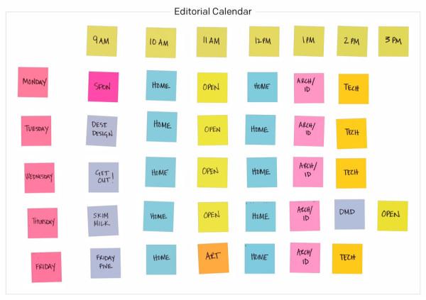 Digital Post-it Note editorial calendar