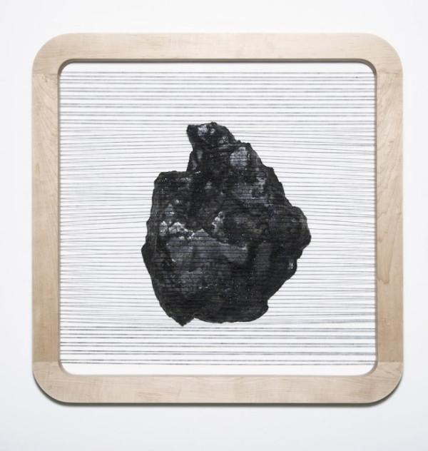 "Portrait #1, 36"" x 36"" x 8""(2013) Cast vatican stone, cotton thread, maple, sand, granite and marble powders, pigment, shellac"