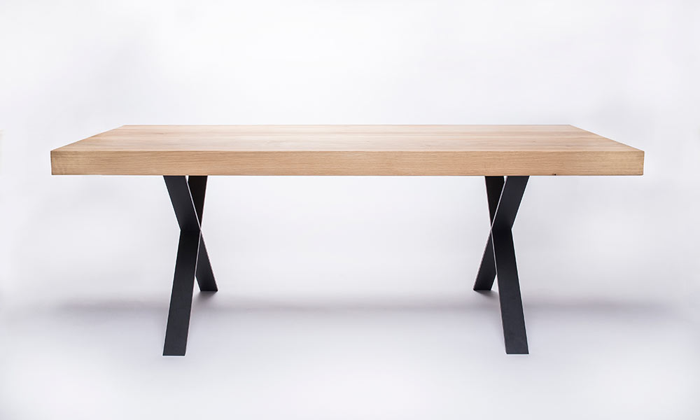 Wood steel tables by design milk for Steel dining table design
