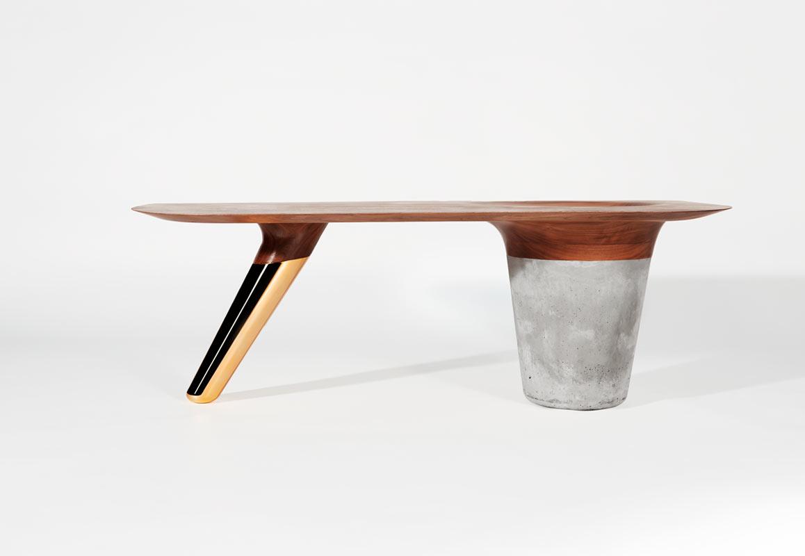 Tables That Combine Walnut, Concrete, & Copper