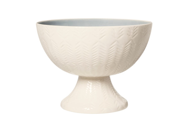 Etched Ceramic Pedestal Bowl