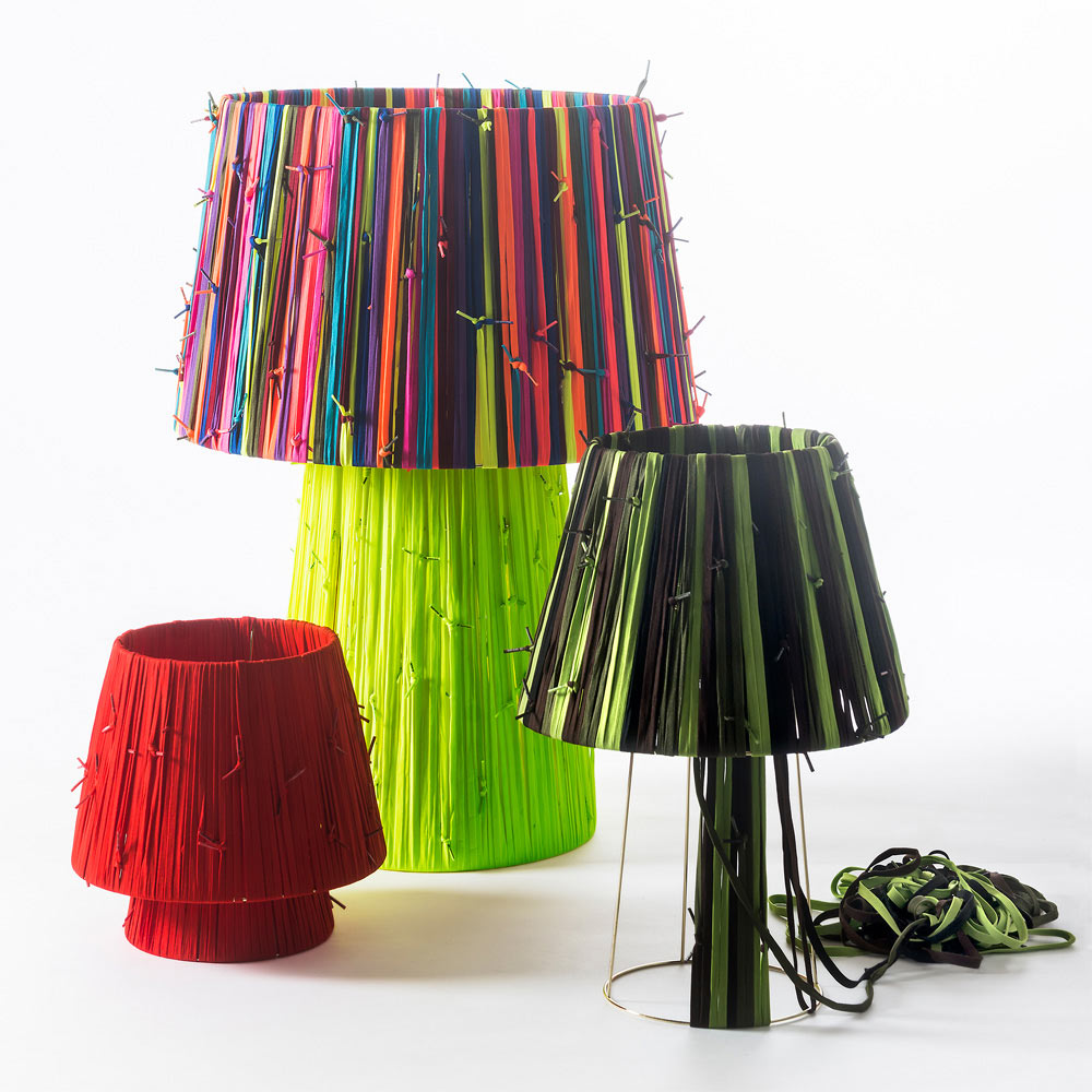 A Collection of Lamps Made From Shoelaces