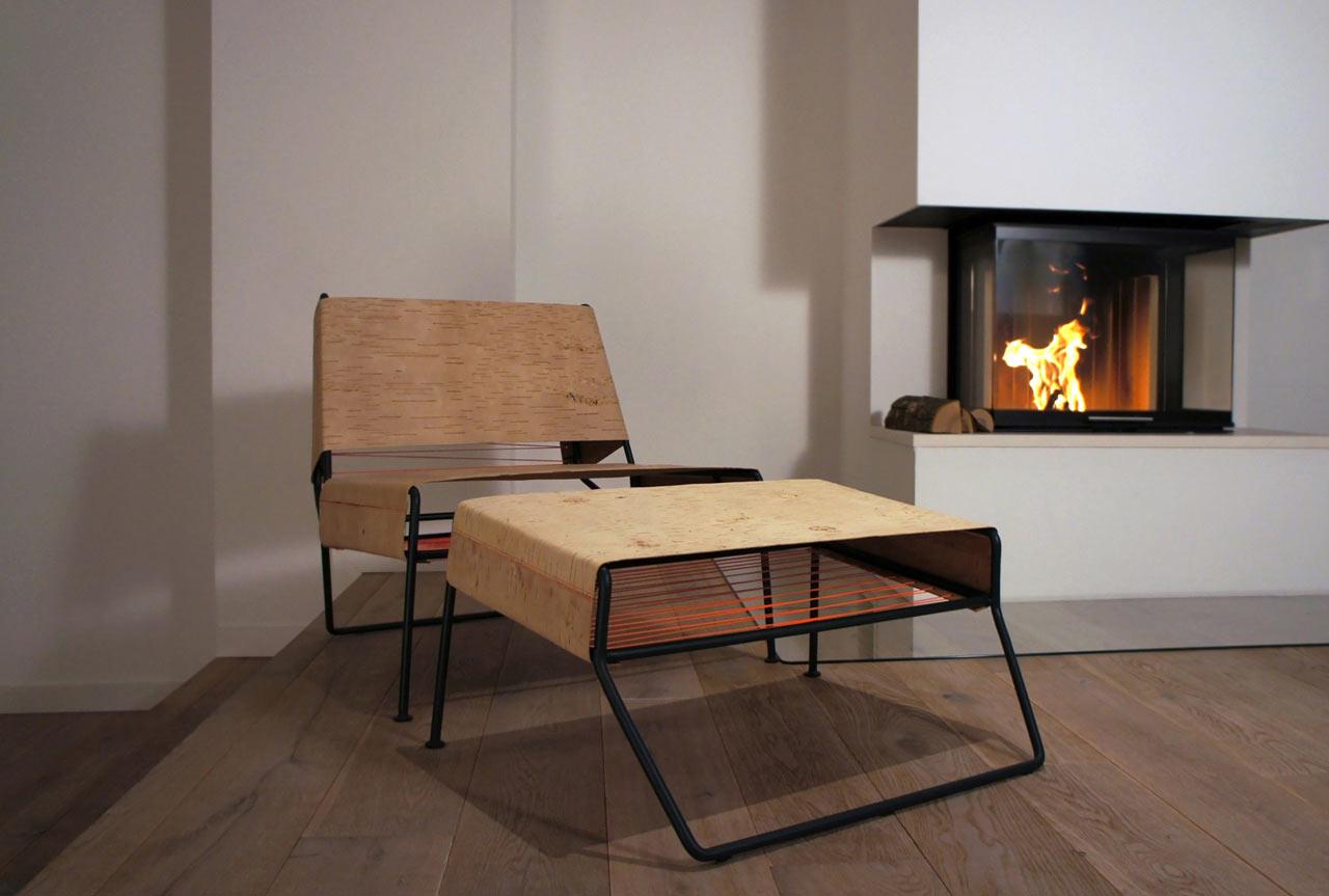 Sibirjak: A Modern Lounge Chair Made of Birchbark
