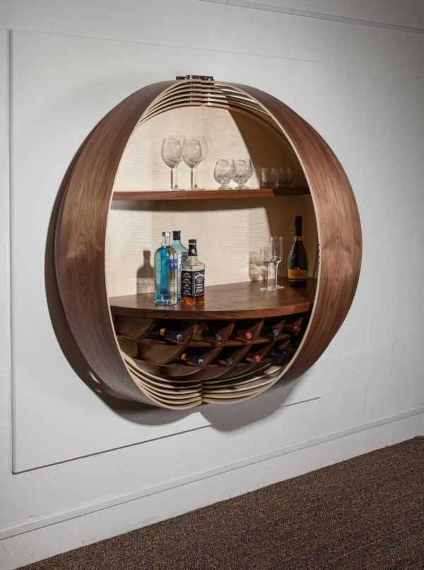 a wall mounted bar cabinet inspired by a spinning coin design milk. Black Bedroom Furniture Sets. Home Design Ideas