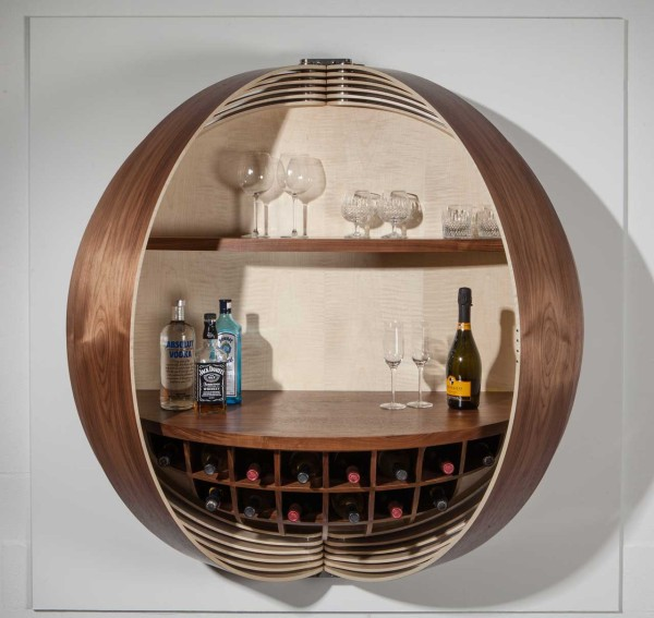 A Wall Mounted Bar Cabinet Inspired By A Spinning Coin