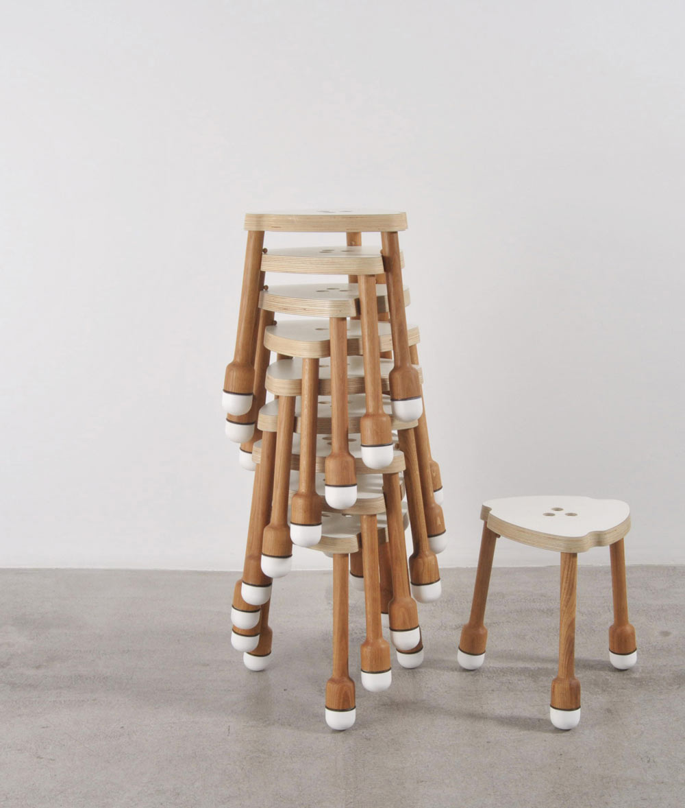 Stackable Wood Stools ~ Crick a stackable stool by pedro feduchi design milk