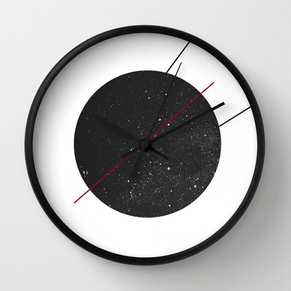 black-wall-clock-space