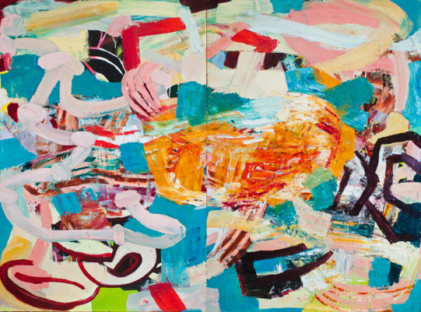 """Oil on two panels, 48"""" x 64"""""""