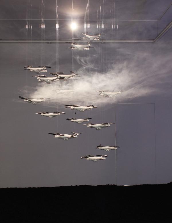 Ceramic drone swarm, 2014-2015, with Vape sculpture, 2015