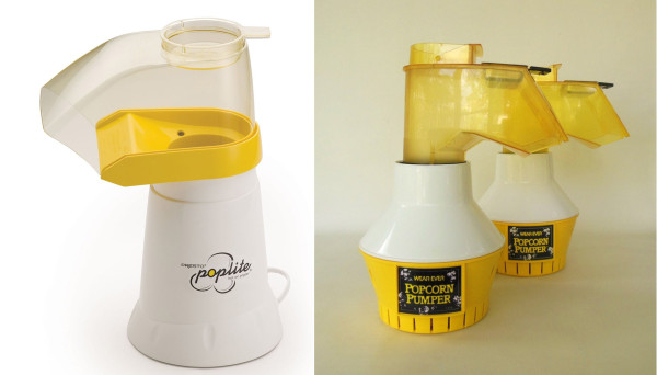 Similarly equipped air poppers like the Presto PopLite and 80's era Wearever Popcorn Pumper remind us Popcorn Monsoon has some ungainly looking predecessors.