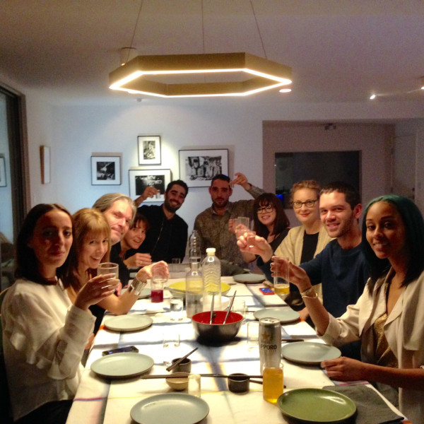 Team A+R raising their glass during their post-holiday January dinner (Andy made a crazy sushi feast).