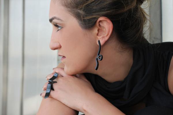 Black Stream earring & ring_