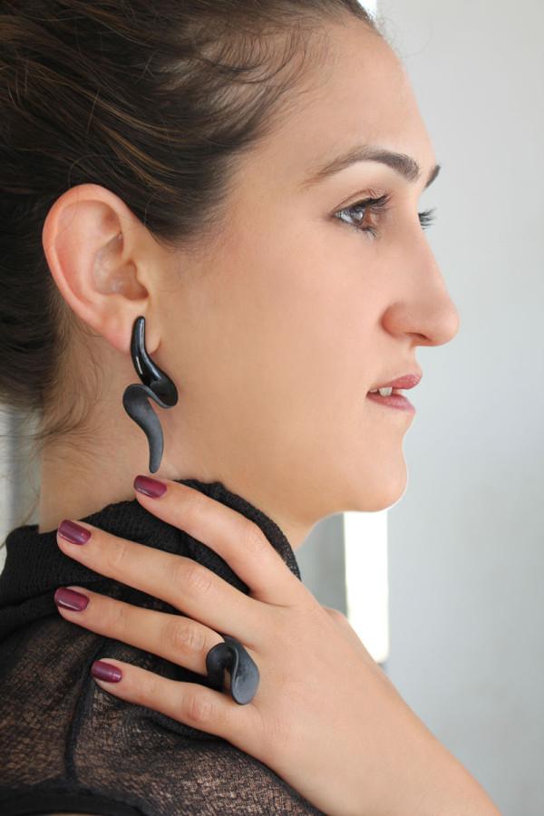 Black Wave earring & ring