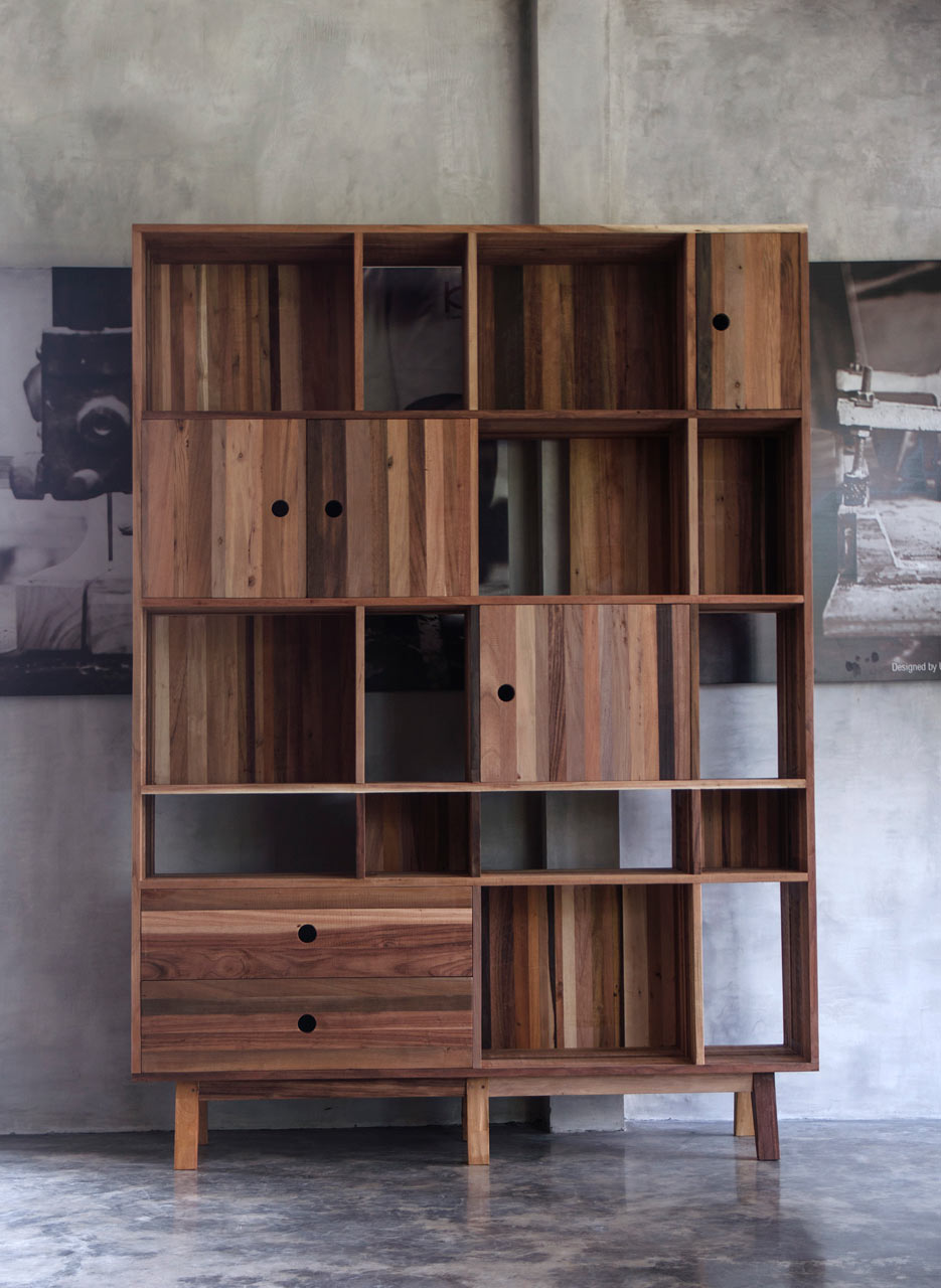 Modern furniture made from a mix of reclaimed woods