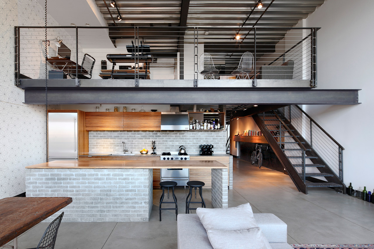 modern industrial apartment: open layout, modern industrial design