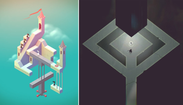 Other graphical sprite-based titles like Monument Valley (left) and Below (right) rely upon a pared down palette and the most simple of shape for world building.