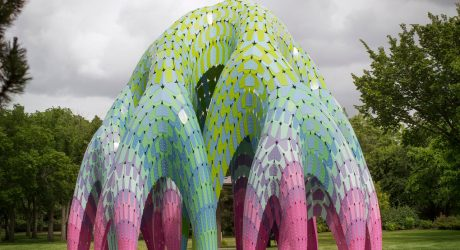 Outdoor Architectural Pavilion Made of Self-Supported Shells