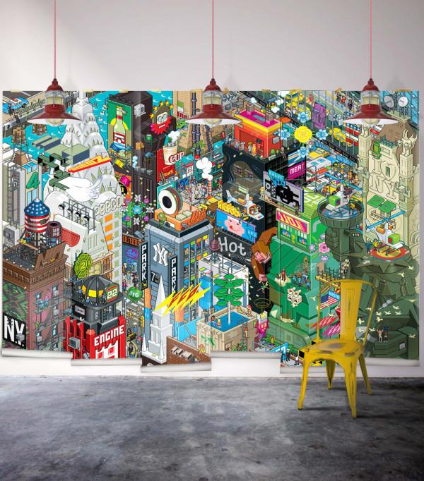 eBoy's 8-bit mural of NYC