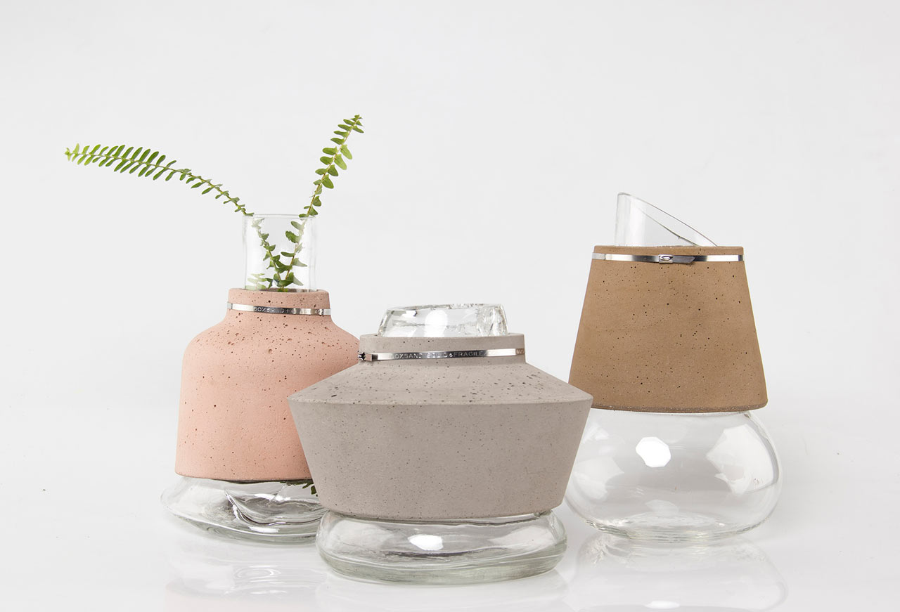 Vases Made from Glass, Concrete and Sand