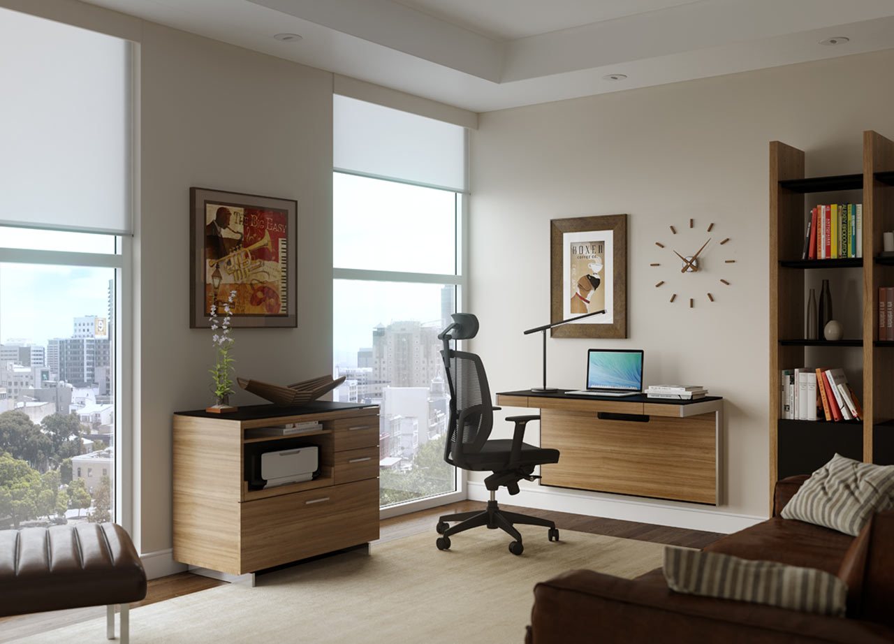 A Wall-Mounted Desk for Smaller Spaces