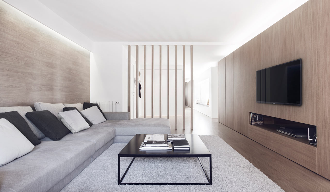Modern white and wood spanish apartment design milk - Salones sencillos ...