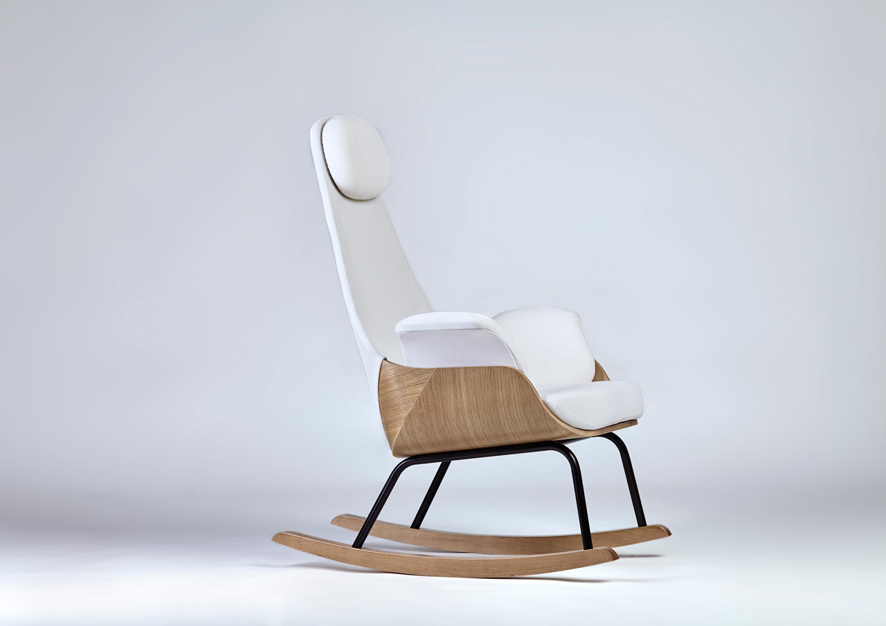 A rocking chair reinvented for new moms design milk for Chair new design