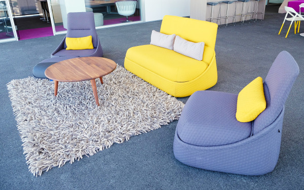 Hosu seating collection by Spanish designer Patricia Urquiola for Coalesse, a work casual seating solution.