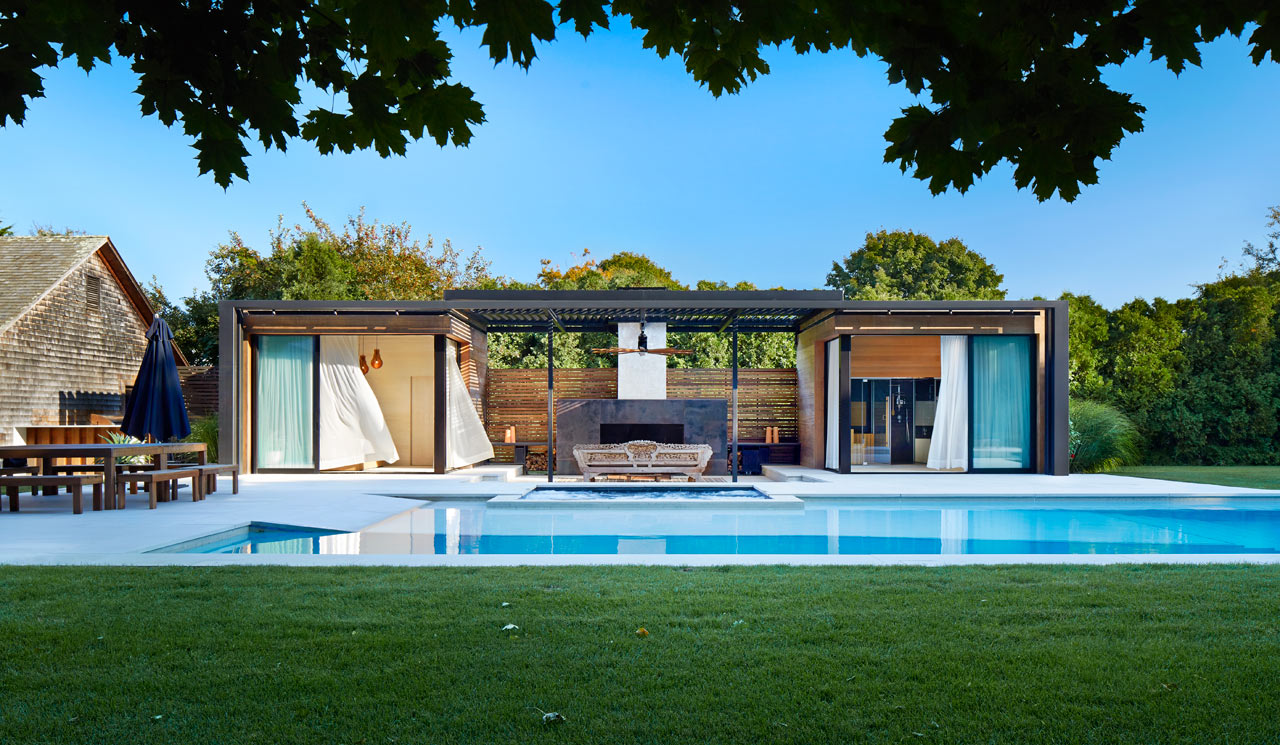 A modern pool house retreat from icrave design milk - Modern house with pool ...