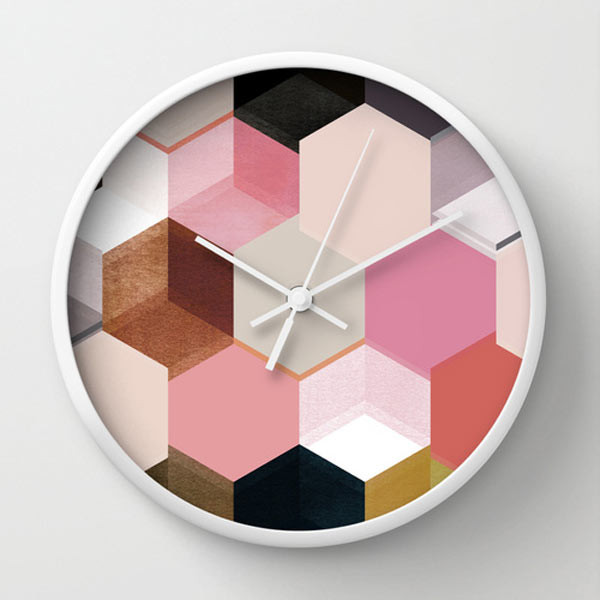 pink-hex-wall-clock