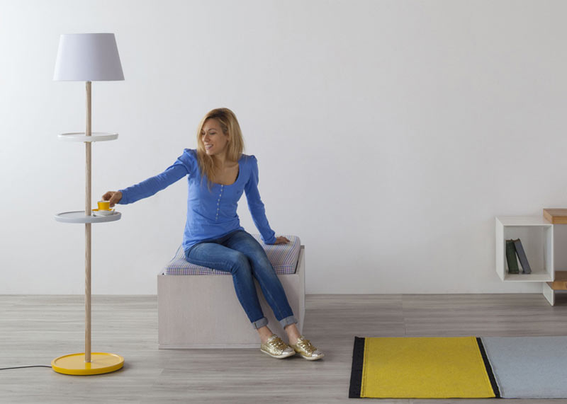 A Floor Lamp That Turns into a Side Table