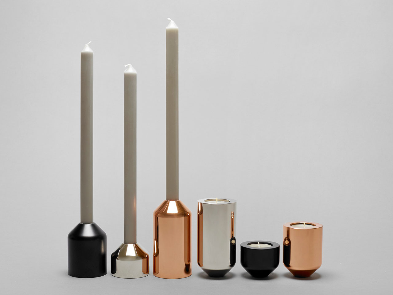 Minimalist, Interchangeable Candleholders by Joe Doucet