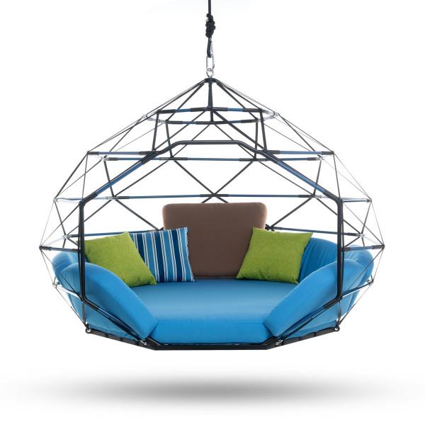 Kodama zomes hanging geodesic seats beds design milk for Hanging mattress