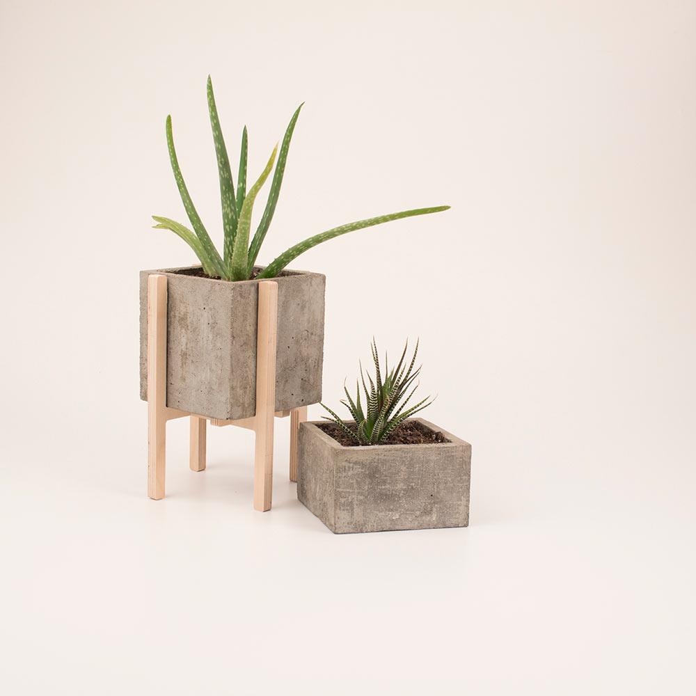 Modern concrete wood planters design milk - Pedestal para plantas ...