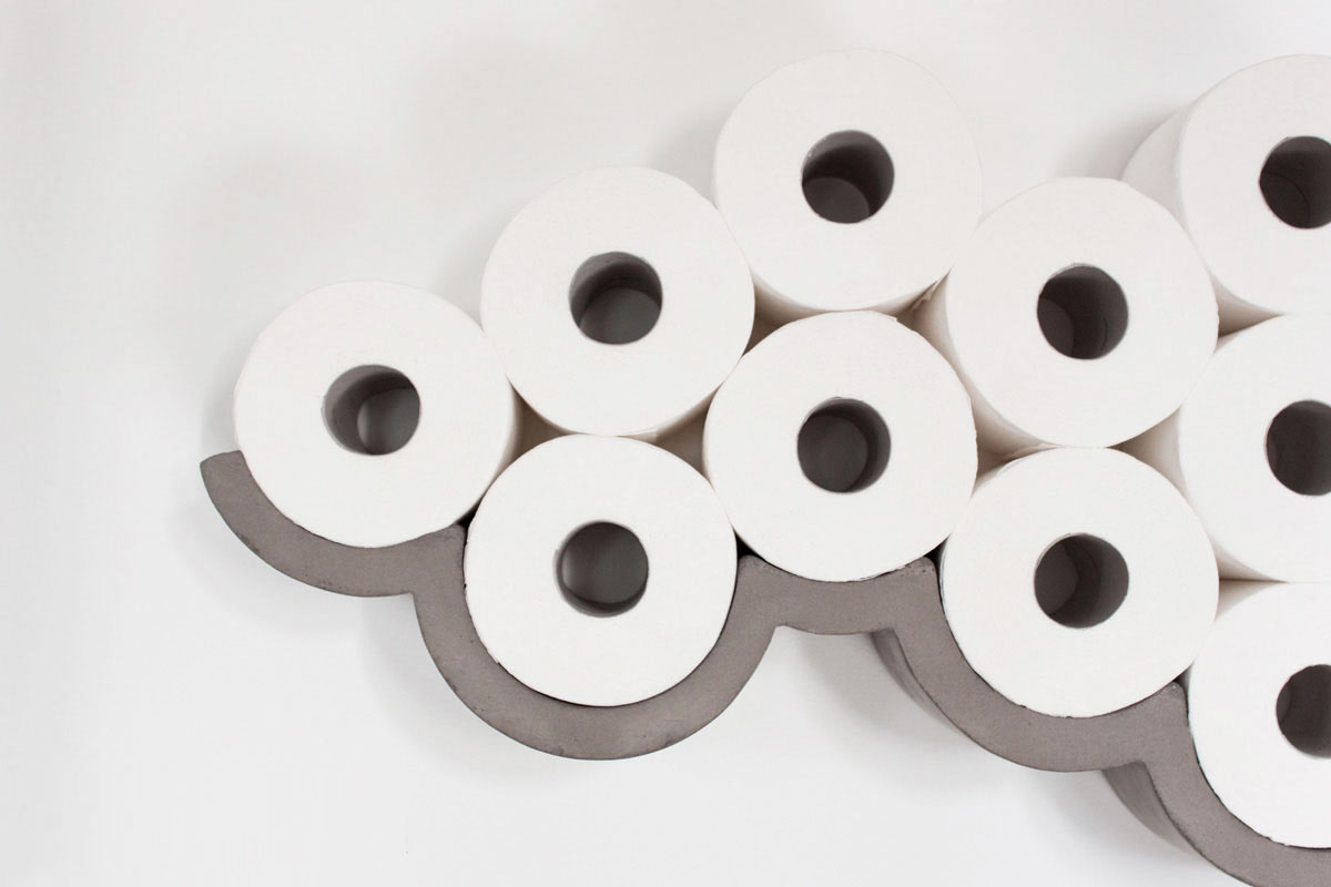 clever concrete cloud toilet paper holder design milk