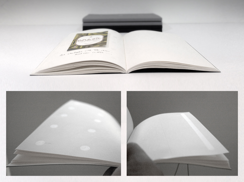 A Notebook with Remoistenable Glue Patterns