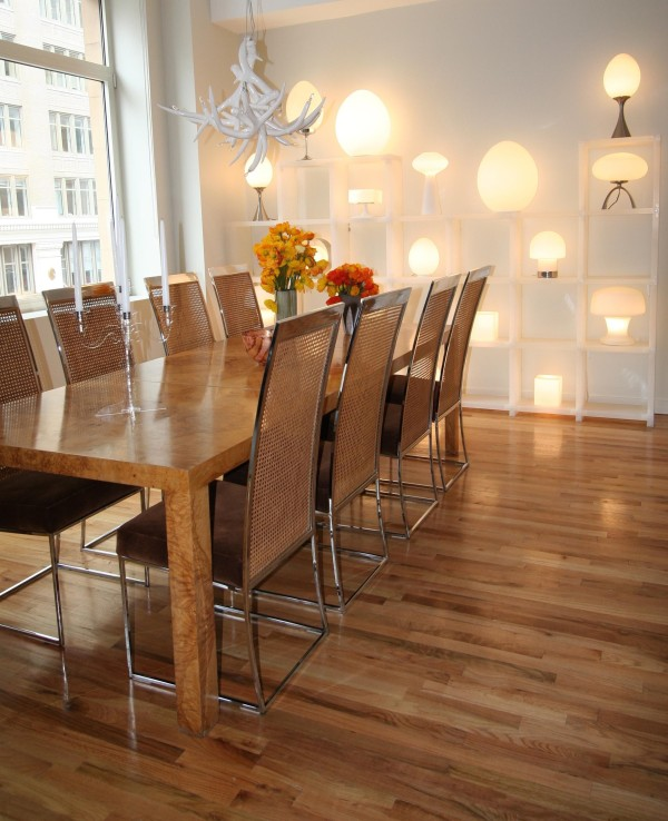 Dining room with Dunbar table, courtesy of Barry Rice Design
